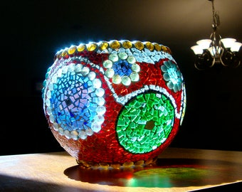 Bowl of Many Colors Stained Glass Mosaic Decorative/Candle Bowl Original Design Ooak Coupon