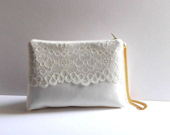 Bridal clutch Ivory Satin clutch Ivory lace  Ivory Brides Purse Ivory Lace  Made to order