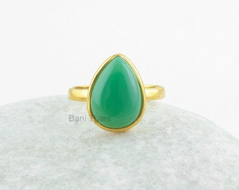 Silver Gemstone Ring, Chrysoprase Chalcedony Pear Micron Gold Plated 925 Sterling Silver Bezel Ring Jewelry, 10x14mm - #1900
