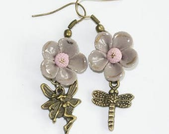 Taupe and bronze Dragonfly/fairy earrings