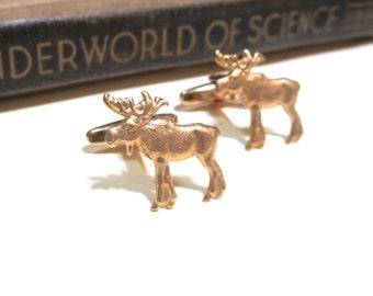 Raw Brass Moose Cuff Links - Small Cufflinks - Mens Gift Soldered Wedding Wilderness Woods Forest Maine
