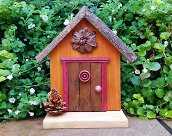Brown Fairy Door with Pinecone Medallion & Porch Decoration
