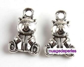 3 charms Tibetan silver bear pendant