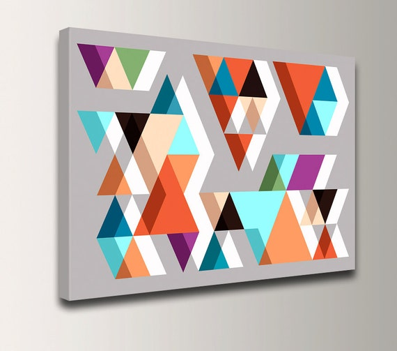 "Geometric Wall Art - Mid Century Print - Triangles - Vintage Modern Wall Decor - ""Adjacent"""
