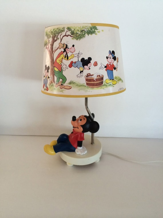 Vintage Disney Mickey Mouse Lamp Light / Enchanting Walt Disney Collectable  / Very Cute Lamp Shade