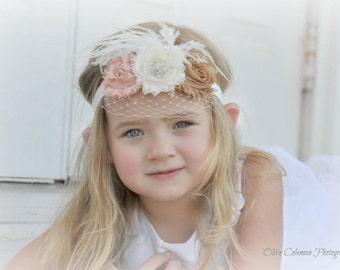 Flower Girl Headband Shabby Chic Vintage Baby Headband Photo Prop Wedding Birthday Custom