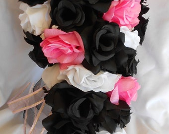 Silk Wedding bridal bouquet pink black and white 4 pc Cascade style made of all roses