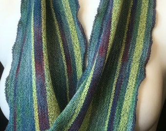 Cotton and rayon, hand-dyed and handwoven, infinity scarf in blue, red, green, and yellow -SIS27