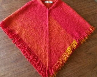 Vintage Lena Rewell All Wool Handwoven Cape / Poncho made in Finland