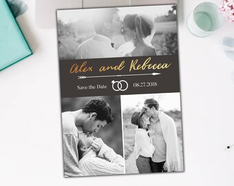 Printable or Printed Save the Date Black and White photo montage gold