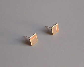 Square stud porcelain earrings- peach, sand, gold - small geometric post earrings 8 mm, minimalist studs, gift for her