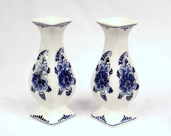 A Pair Of Small Delft Blue Vases 16cm Royal Delft Handcrafted