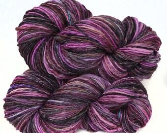Handspun Yarn handdyed merino wool and silk