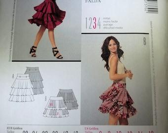 Burda Style 7370 flounced tiered skirt pattern sizes 6-16 NEW