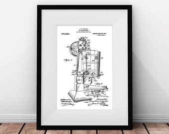 Retro Wall Art, Kitchen Illustration, Ice Cream Art, Kitchen Art, Ice Cream Machine, Patent Printable, Black and White, Minimalist Wall Art