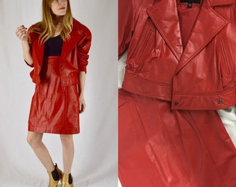 M/L 1980s Wilson's Red Leather Jacket and Skirt Set