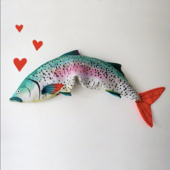 grocery series s rainbow fresh ebay p trout decorative tray salamander fish pillow plush