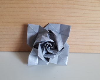 Grey pink origami brooch