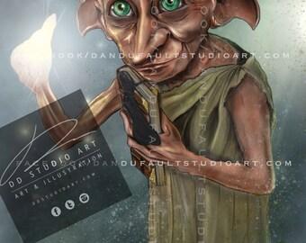 "Harry Potter's 'Dobby' 11x17"" Artist Signed Print"