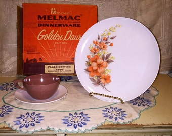 Lot of Vintage Marcrest Melmac Melamine Plastic Dinnerware Golden Dawn Original Box NOS Place Setting set Dinner Plate Cup and Saucer Mauve