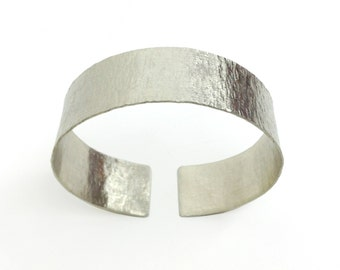 Wide Hammered Silver Cuff Bangle Handcrafted Metalwork Open Βand Cuff Βracelet Adjustable Handmade Greek Jewelry Unisex For Her For Him