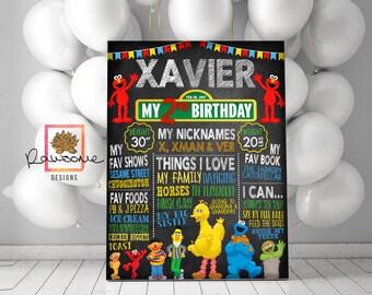 SESAME STREET Birthday Chalkboard Sign - Milestone Sign - First Birthday Second Birthday
