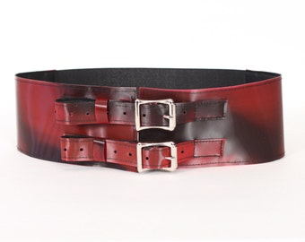 """Cranberry Red 3"""" Belt with Aluminum Buckles"""