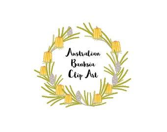 Clip Art Australian flora banksia elements, Proteaceae, Australian flower art, downloadable flower graphics, vector flower DIY