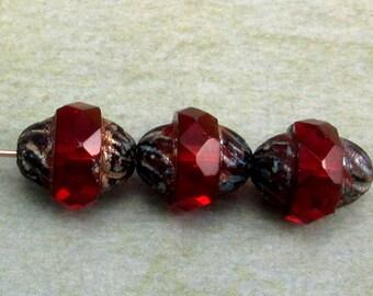 Czech Glass Turbine Beads, Ruby Red Picasso, 11x10 MM 6-Pieces C328
