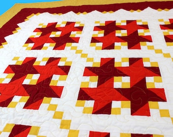 Unique Tic Tack Toe - FINISHED QUILT - Bold Quilt design with Great Borders