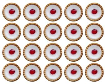 20x Cherry Bakewell Tart Cakes 25mm / 1 Inch D Pin Button Badges