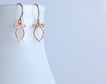 Andy - 14k Rose Gold Filled Earrings | Delicate Rose Gold Dangles | Lightweight Earrings