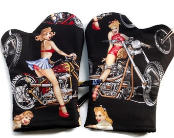 Handmade Oven Mitts set of 2 Hot Bikers Chicks in Black