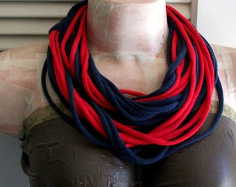 Navy Blue & Red Infinity Multi Strand T shirt Jersey Scarf