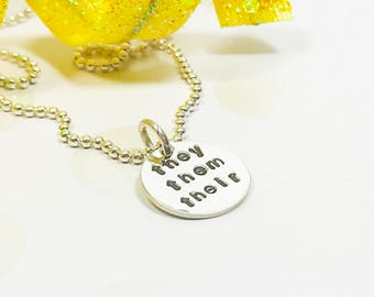 Pronoun Necklace - Pronoun Jewelry - Ask About My Pronouns - Nonbinary Jewelry - Genderqueer - Coming Out - Gender Identity - Transgender