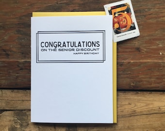 SASS-632 Congratulations on the senior discount birthday letterpress greeting card