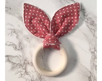 Pink bunny ear wooden teething ring