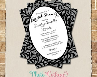 Bridal Shower Invitation, Glitter Silver Invitation, Black Invitations, Bridal Shower Invites, Black & Silver Invitation, BS143