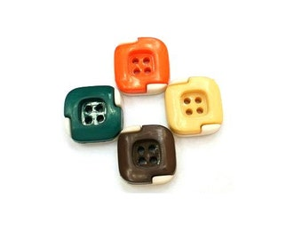24 vintage plastic buttons 4 colors-brown, orange, cream, green- with white, square buttons 12mm