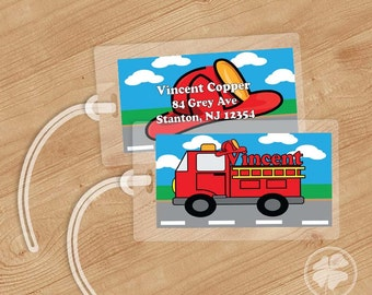Firetruck -   Luggage Tag, Bag Tag, Backpack Tag, ID Tags, Personalized, Custom