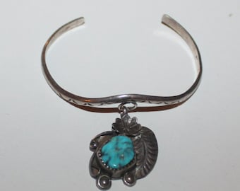 Sterling silver and turquoise Cabachon charm cuff bracelet Vintage Native American Jewelry 925 Southwestern Feather Boho Glam