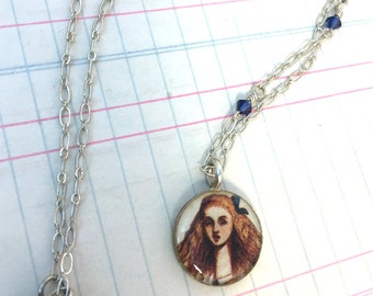 Alice in Wonderland Circle Necklace, Mixed Media Illustration Jewelry