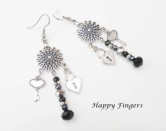 Charm Earrings Boho earrings Black earrings Glass earrings Beaded earrings Drop earrings Dangle earrings Hippie earrings Hippie gift