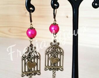 Bronze birdcage pendant and fushia pink glass Pearl Earrings