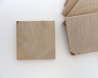 "Wooden tiles, wooden squares, 2 inch (2"") by 1/4"" thick set of 12"