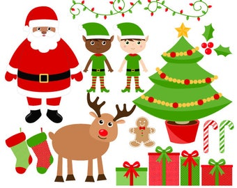 christmas clipart santa clip art digital christmas graphics instant download commercial use