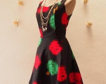 SALE Mini Dress Black Apple Dress Summer Casual Dress Vintage Inspired Dress Straps Sleeveless Cute Sundress Shorts Dress -Size S,M