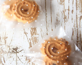 10 Sacchettini trasparenti a pois bianchi per biscotti, dolcetti, caramelle & CO - 10 Candy or Cookie bags