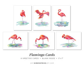 Flamingo Greeting Cards Pack of 6, 5x7, Blank Inside, Flamingo Note Cards, Watercolor Flamingo Cards, 6 Different Flamingo Cards