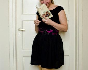 Cat Print Skirt, Mini Skirt with Pockets, High Waisted Gathered Skirt, Summer Skirt, Black Purple Kitty Print